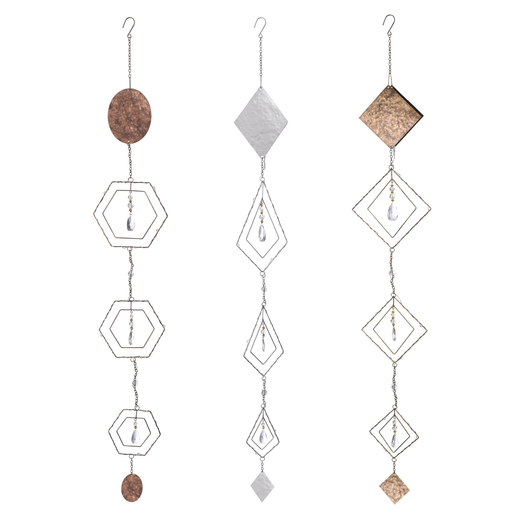 Grasslands Road Large Geometric Light-Up Hanging Decor (6 Pack), 35'', Bronze/Brown/Clear/Silver/Grey