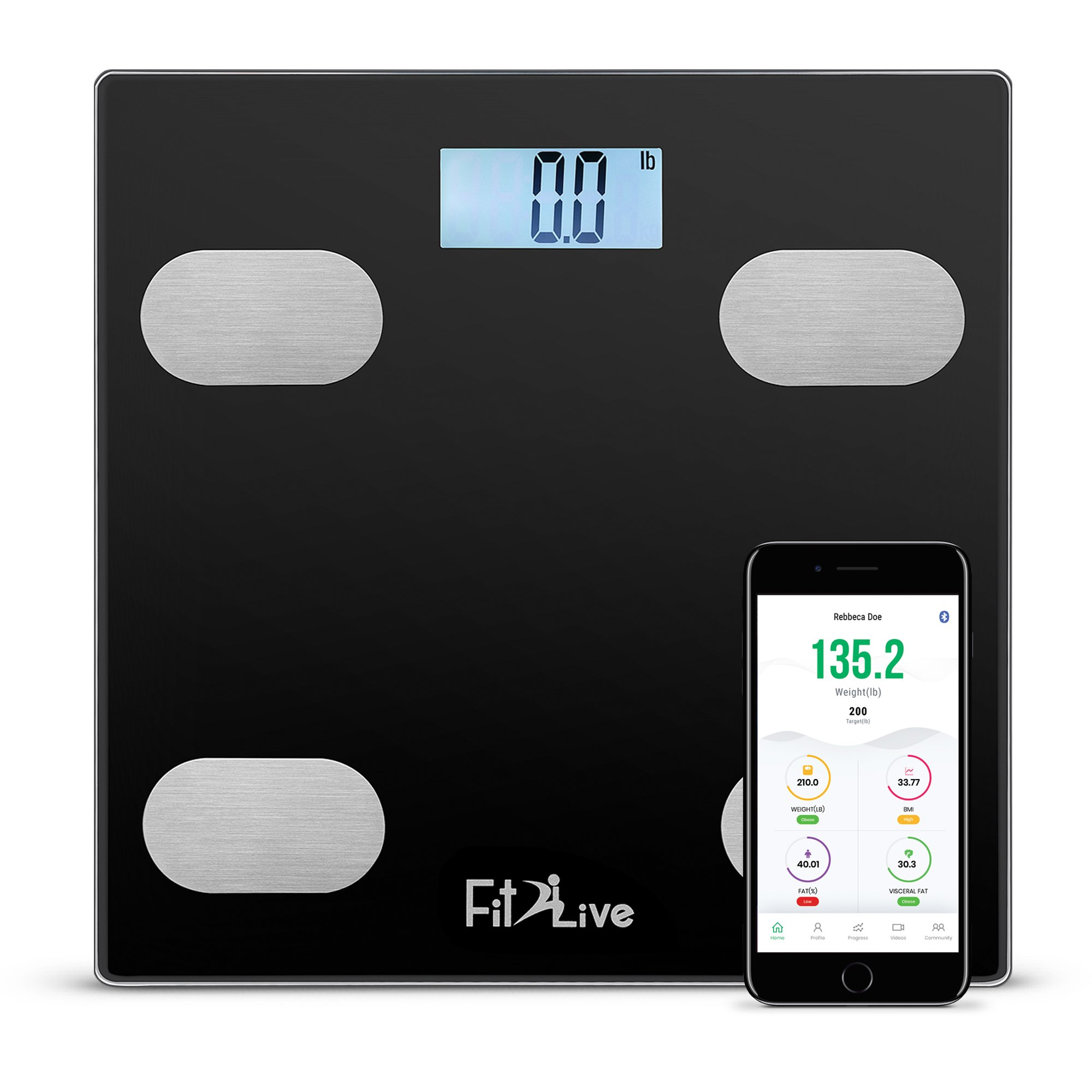 Bluetooth Smart Body Fat Scale, Fit2Live Digital Bathroom Weight Scale, Body Composition Analyzer, Connects with iOS and Android for Body Weight, Fat, Water, Bmi, Bmr, Muscle Mass, Black