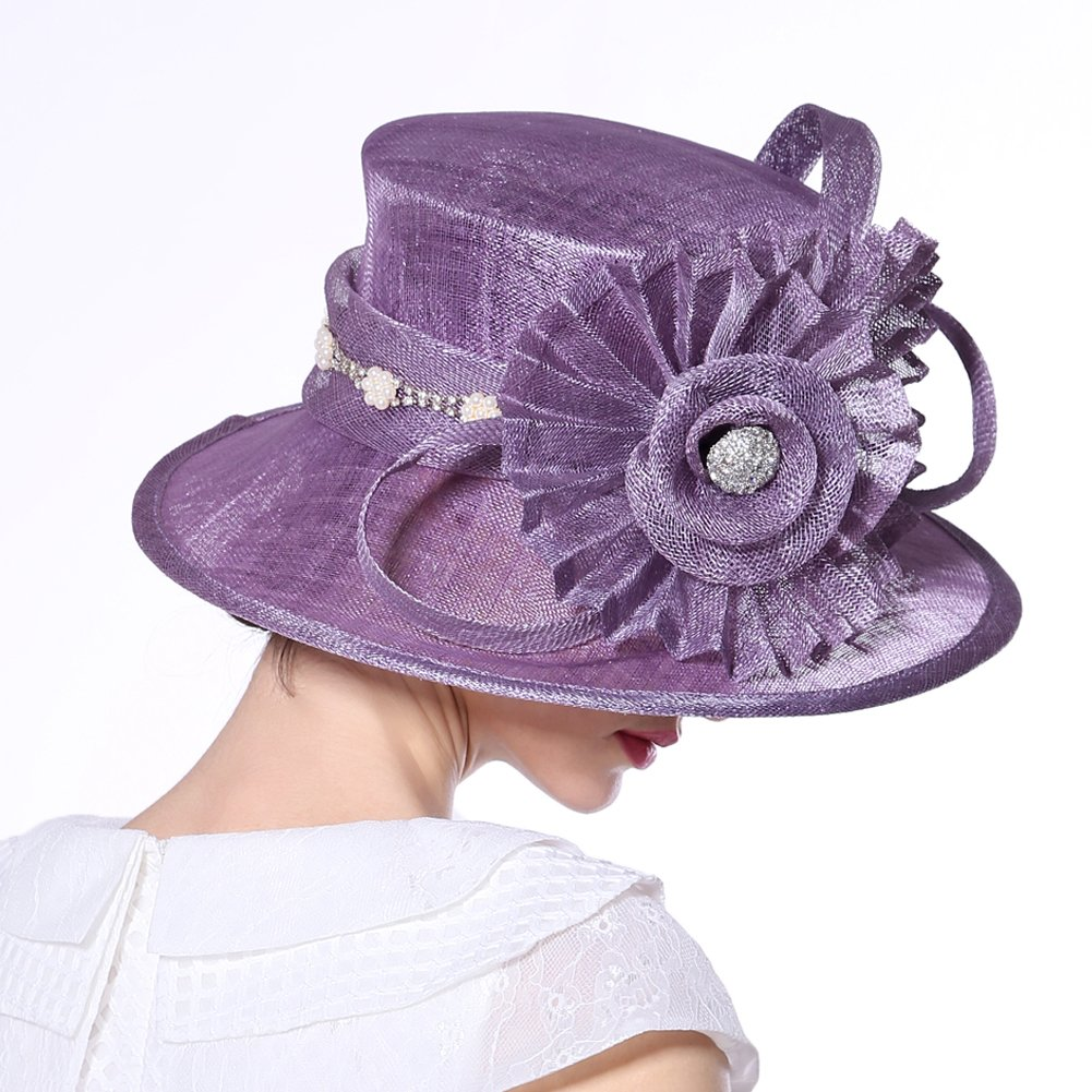 June's Young Women Hat Big Flower Summer Hat Sinamay Wide Brim(Purple) by June's Young (Image #3)