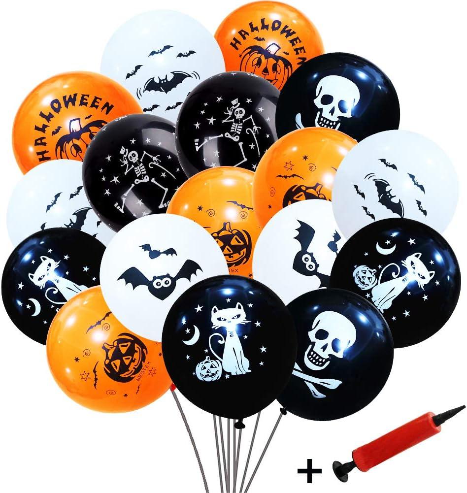 SIMUER Decoraciones con Globos de Halloween, 100 Piezas 12 '' Globos de látex con Forma de murciélago Esqueleto de Calabaza con Bomba de Aire para Suministros para Fiestas de Halloween