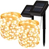 SOARRUCY Solar Powered String Lights Outdoor - 2 Packx66ft Solar Lights Outdoor - Each 200 Led Solar Fairy Lights with 8…
