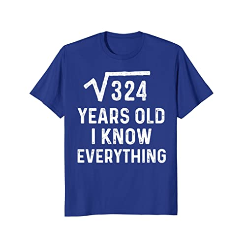 Square Root 18th Birthday Gift 18 Years Old Math Tshirt