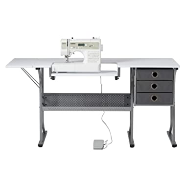Craft & Hobby Essentials 62007 Machine Platform Table with Drawers, Shelf and Drop Leaf Top, Craft, 60.25  W Sewing Desk with Supply Storage in Grey, White