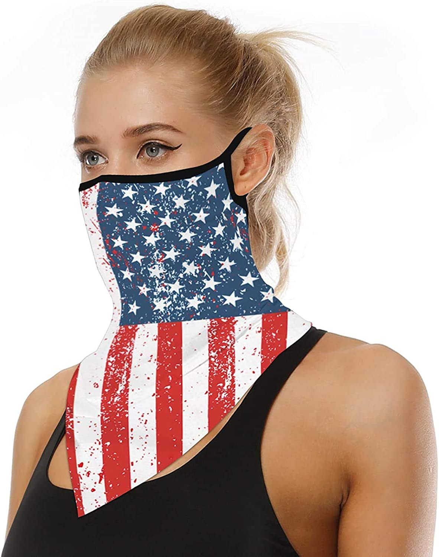 TOROCAT 2 Pack Bandana Face Mask Mouth Cover Neck Gaiter Ear Loops Balaclava UV