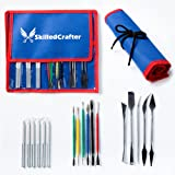 Skilled Crafter Clay Tools with Case. 28 Stainless Steel & Aluminum Pottery Modeling & Sculpting Tools in 17 Piece Set. Professional Quality. + FREE Needle Tool