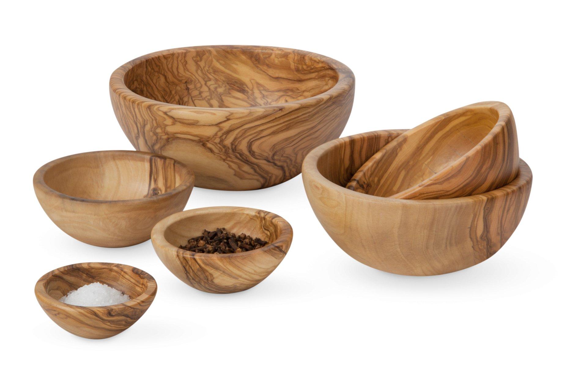 Petite Olive Wood Nesting Bowls