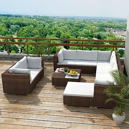 Amazon.com: 32pcs Garden Sofa Set Poly Rattan Brown Outdoor ...