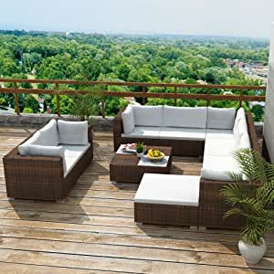 tidyard Conjunto Muebles de Jardín de Ratán 32 Piezas Sofa Jardin Exterior Sofas Exterior,Estructura de Acero,Cojines Extraíbles,Poli Ratán,Marrón(Combinable de Diferentes Formas): Amazon.es: Hogar