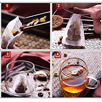 Amazon.com : 100 Pcs/Lot Teebeutel 5, 5x7 cm Leere Duftenden ...