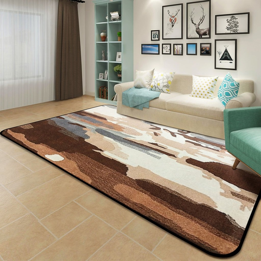 Amazon com living room bedroom creative abstract large carpet sofa coffee table bedside rugs color brown size 160230cm kitchen dining
