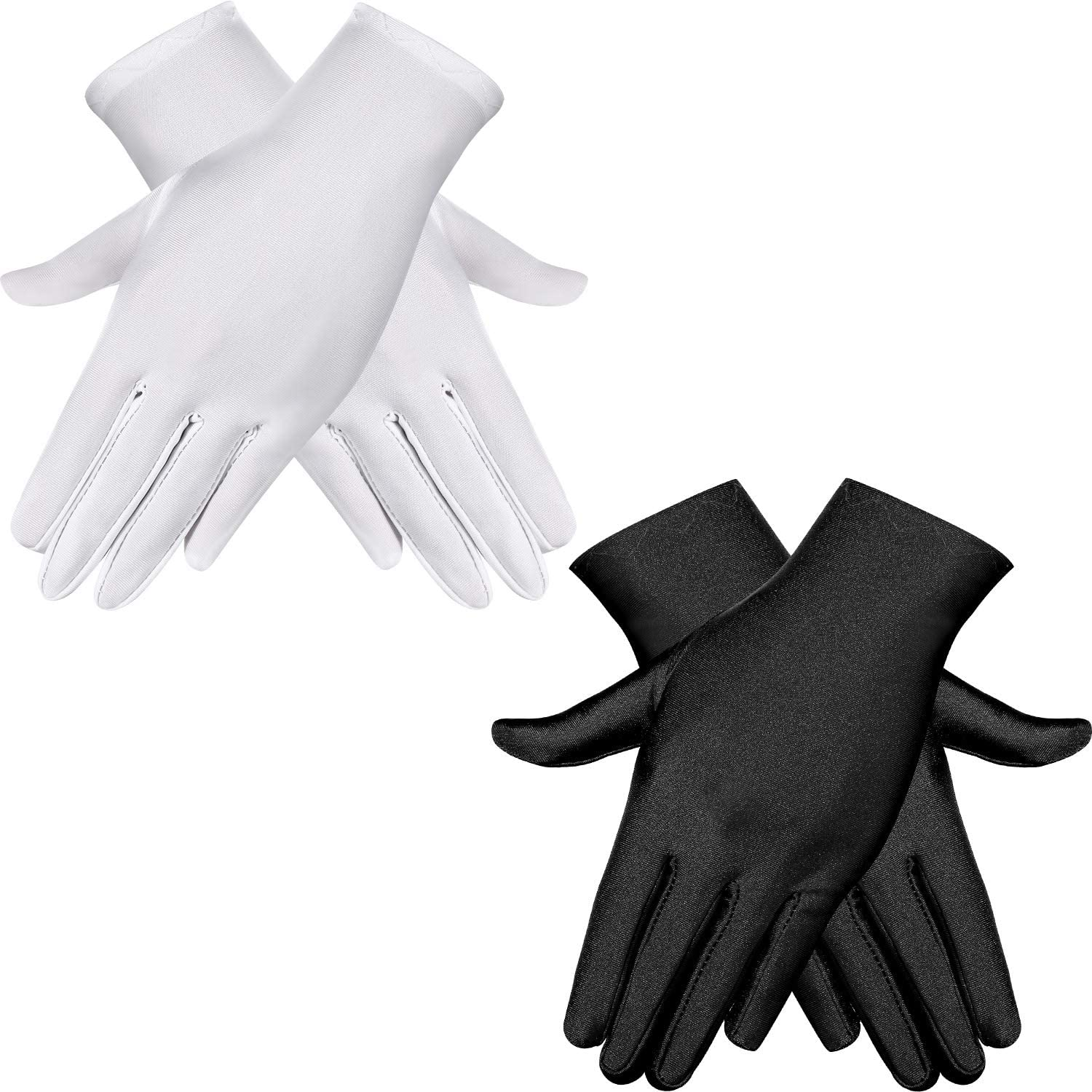 2 Pairs Adult Spandex Gloves Wrist Length Gloves Gown Opera Gloves Party Cosplay (White and Black): Clothing
