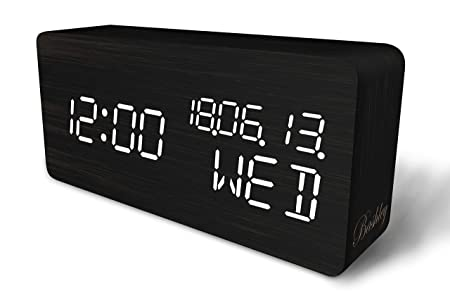 Orologio Da Tavolo Con Display Temperatura Umidita Tempo Doppio Alimentatore Per Casa Ufficio Oria Sveglia Led In Legno 3 Livelli Di Luminosita Orologio Da Comodino Digitale Del Sensore Sonoro
