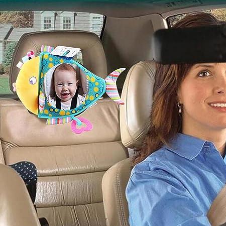 Blaward - Espejo para asiento trasero de bebé, a prueba de roturas, diseño de espejo retrovisor para ver a los niños en el asiento del bebé, juguete de dibujos animados
