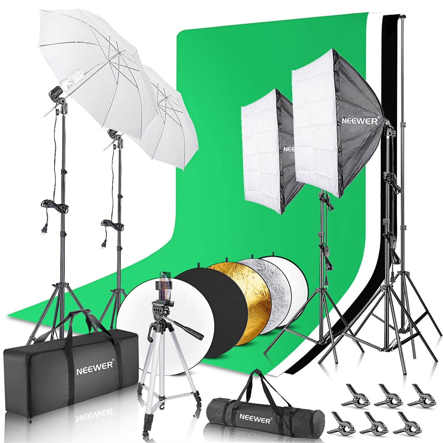 Neewer Complete Photography Lighting Kit: 8.5x10feet Background Support System/800W 5500K Umbrellas Softbox Continuous Lighting Kit/5-in-1 Reflector Disc/Tripod/Phone Holder/Carry Bag for Studio by Neewer