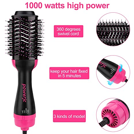 Powerjc Cepillo para secador de pelo, rotatorio, aire caliente y volumen de un paso, secador de pelo y estimulador de volumen: Amazon.es: Salud y cuidado ...