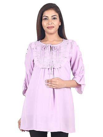 0451a3e866297 9teenAGAIN Women's Plain Woven Maternity Top (Mauve): Amazon.in ...