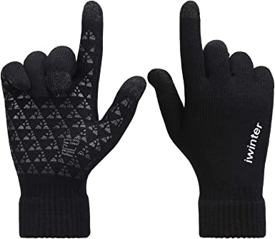 Men/'s Winter Warm Fleece Lined Thermal Knitted Gloves Male Touchscreen Gloves