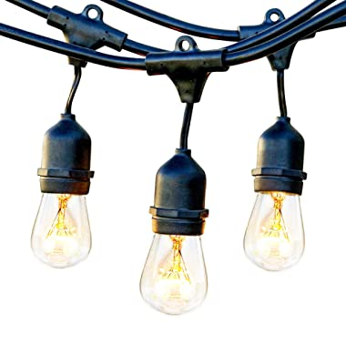 Brightech Ambience Pro - Waterproof Outdoor Incandescent String Lights - Hanging Vintage 11W Edison Bulbs - 48 Ft Bistro Lights Create Great Ambience In Your Backyard, Gazebo