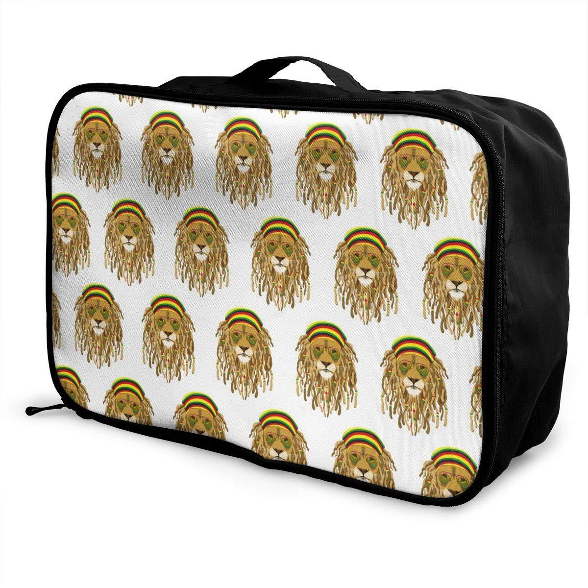 Women /& Men Foldable Travel Duffel Bag Rasta Lion Raggae Jamacia For Luggage Gym Sports