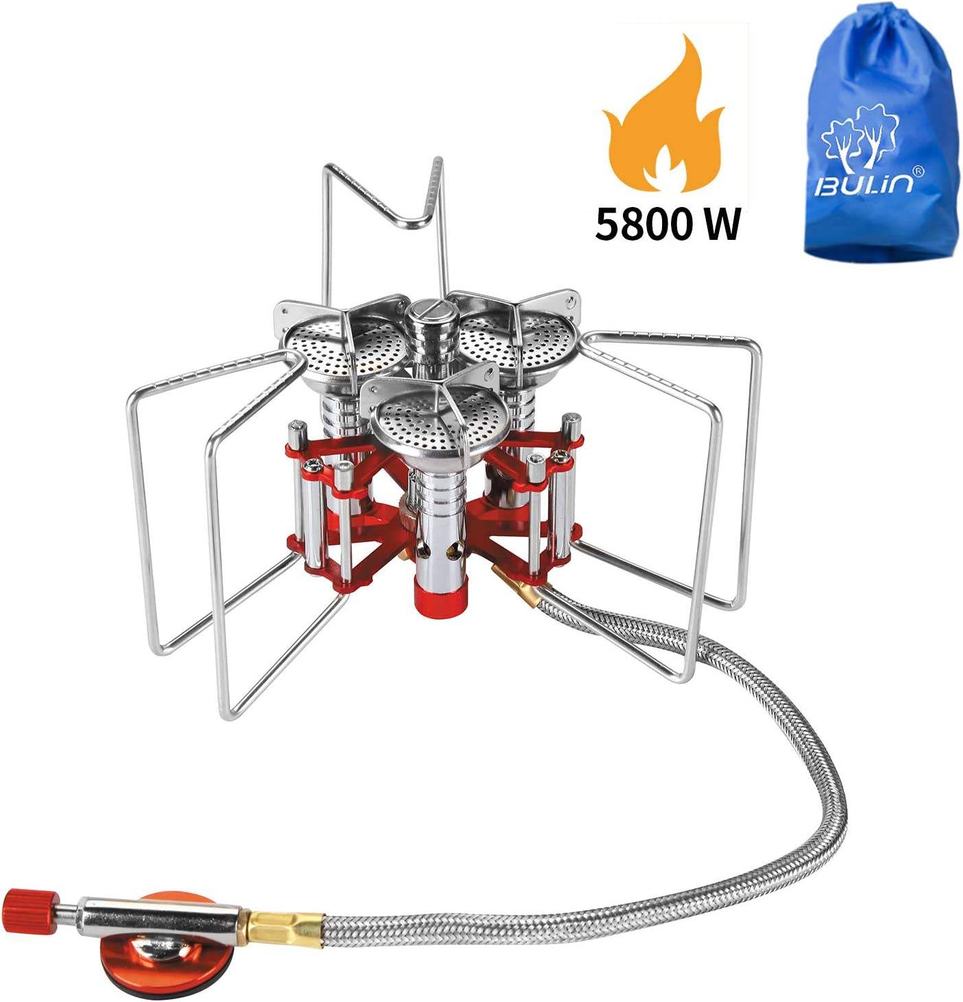 Bulin 5800W Ultralight Windproof Camping Gas Stove, Portable Small Mini Backpacking Hiking Stove Burner, Lightweight Outdoor Folding Camp Stove, Heavy Duty Support Up to 25KG