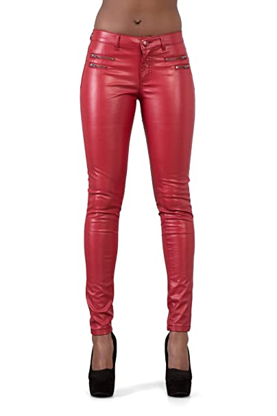 super service genuine men/man Lusty Chic New Black & Red Women's PU Skinny Fit Style Faux Shiny Biker  Leather Pants - Leather Look Leggings Pant with Zips