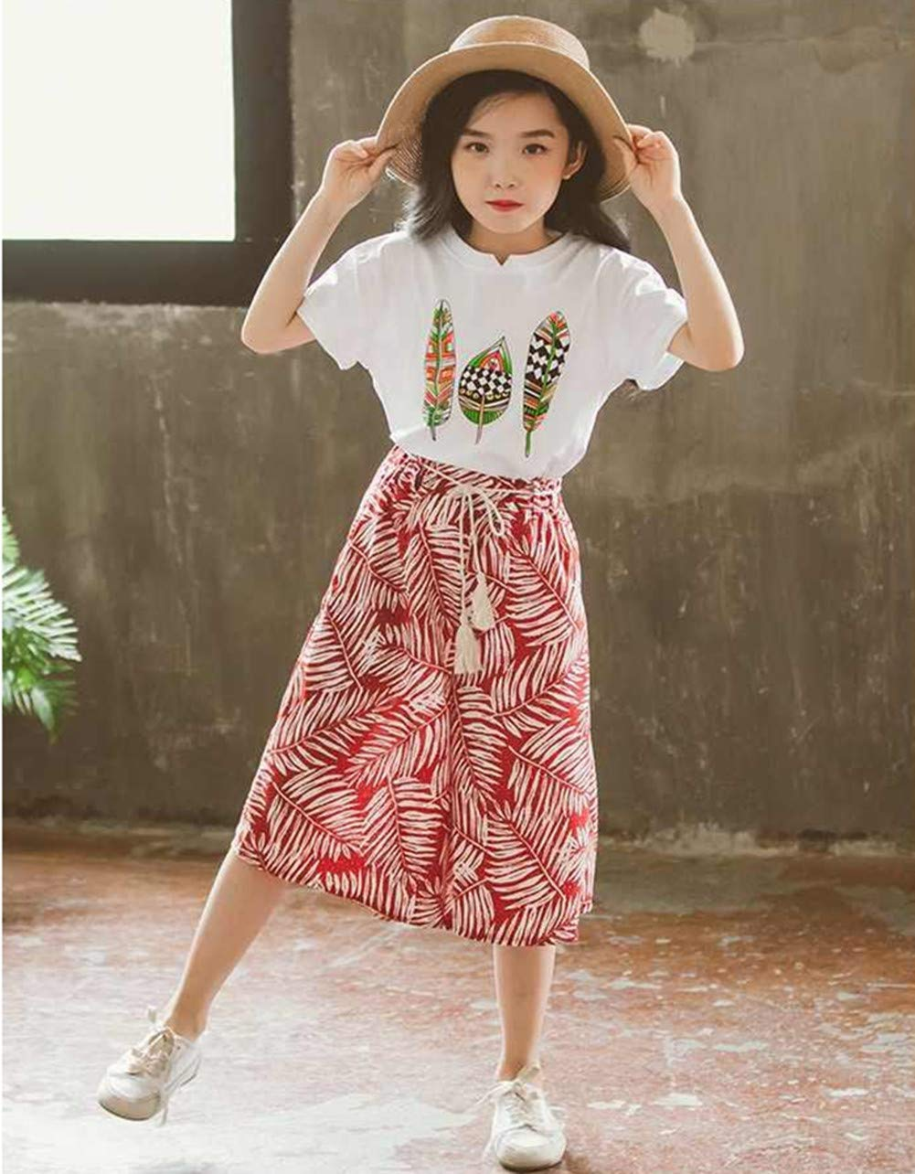 FTSUCQ Girls Floral Leaf Printed Shirt Top + Wide Leg Pants,Red 160 by FTSUCQ (Image #3)