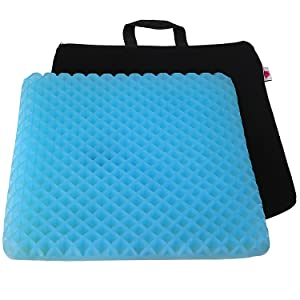 "FOMI Premium Firm All Gel Orthopedic Seat Cushion Pad (15"" x 15"") for Car, Office Chair, Wheelchair, or Home. Pressure Sore Relief. Ultimate Gel Comfort, Prevents Sweaty Bottom, Durable, Portable"