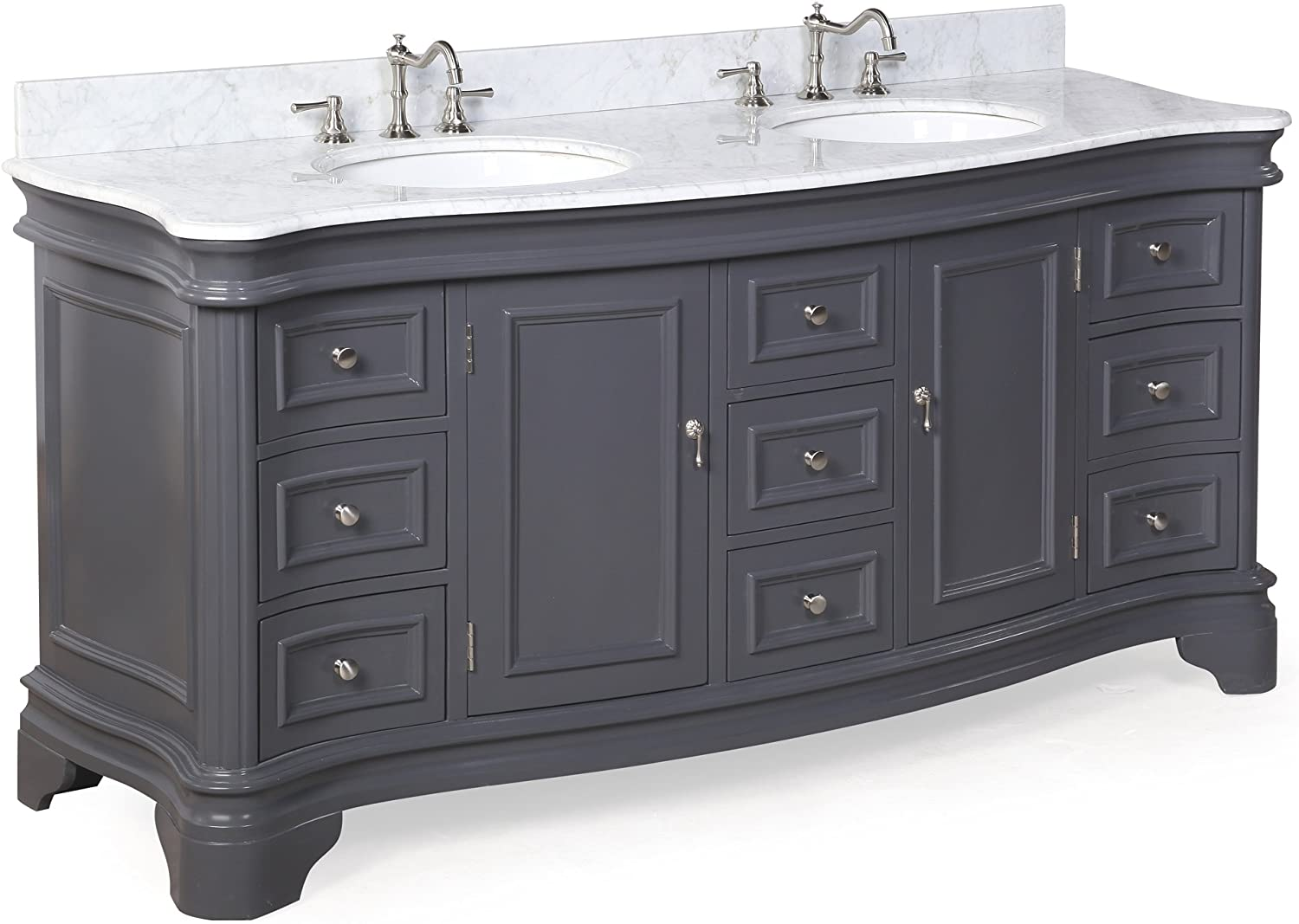 Katherine 72 Inch Double Bathroom Vanity Carrara Charcoal Gray Includes Charcoal Gray Cabinet With Authentic Italian Carrara Marble Countertop And White Ceramic Sinks Furniture Decor