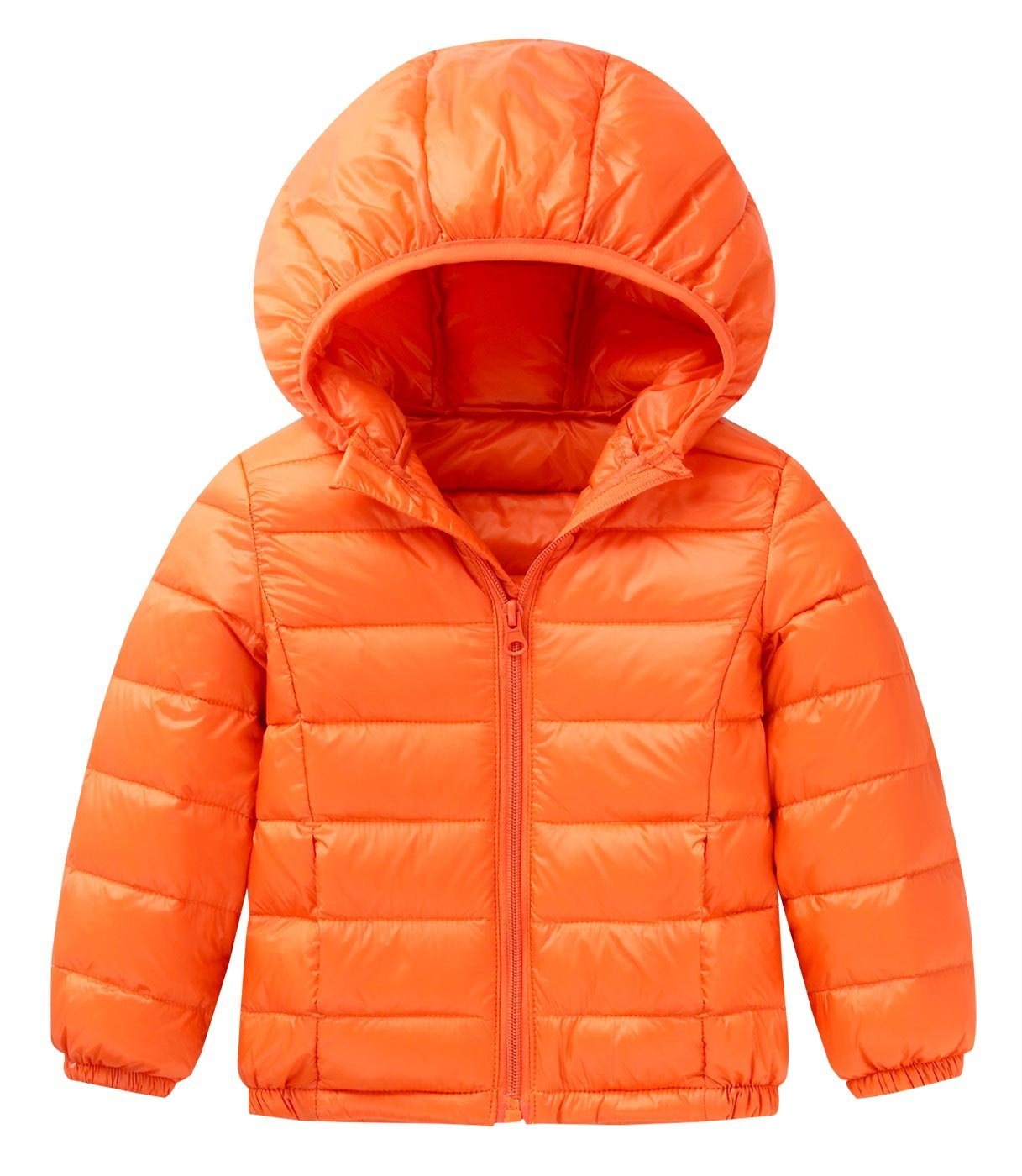 Happy Cherry Baby Boys Girls Hooded Packable Ultra Light Weight Short Down Jacket Orange Size 140cm
