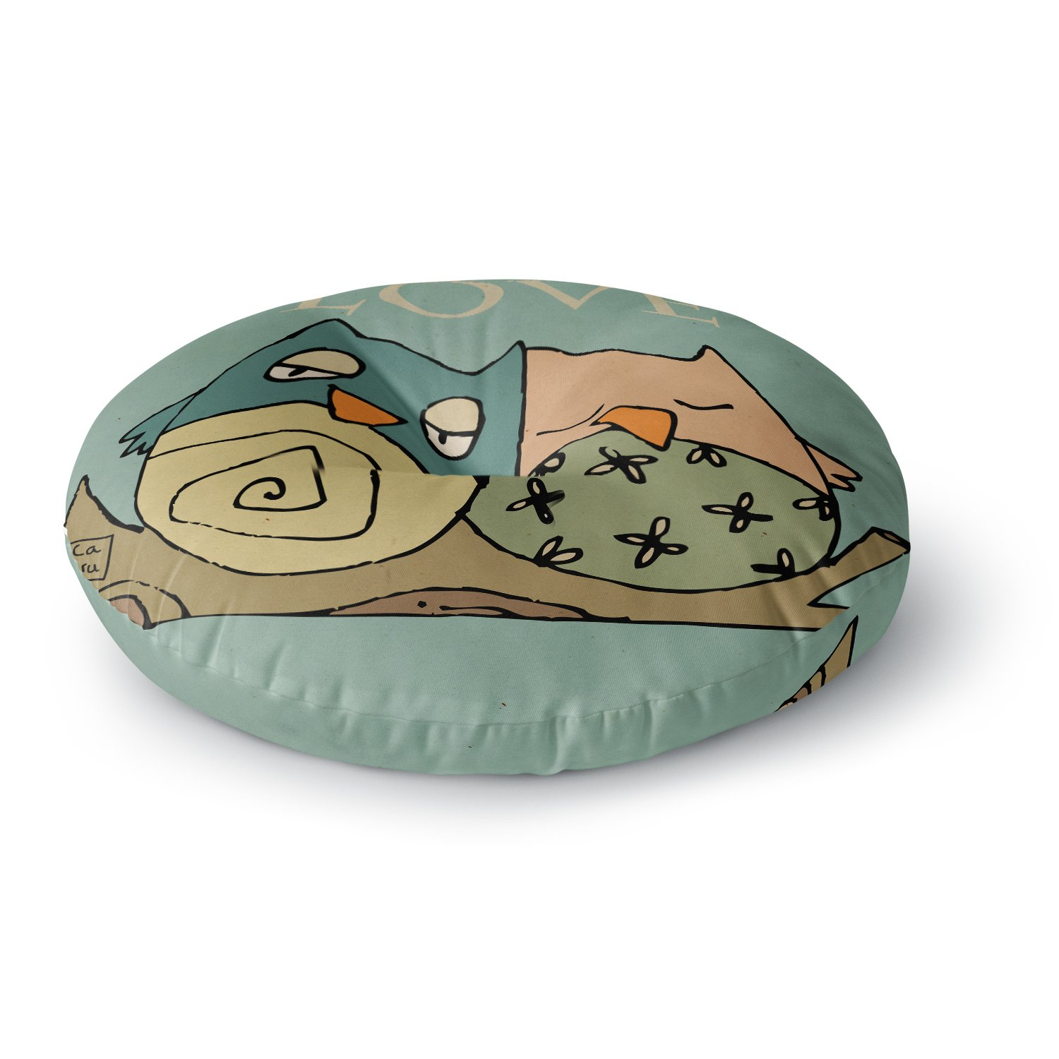 Kess InHouse Carina Povarchik Lechuzas Love Owls Green Round Floor Pillow 26' CP1024ARF02
