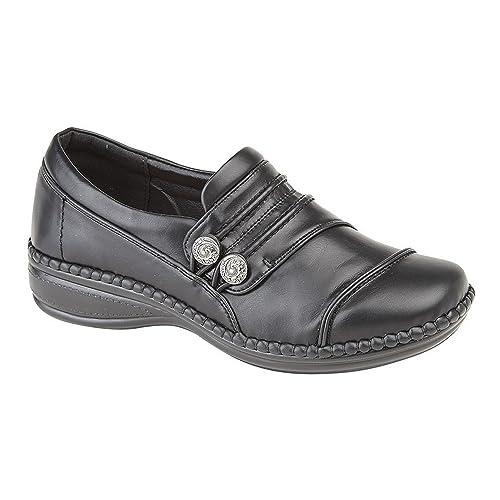 Boulevard - Zapatos casuales de ancho especial con tiras con botones para mujer: Amazon.es: Zapatos y complementos