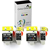 Colour Direct - 4 (2 SETs) Compatible Black & Tri-Colour Ink Cartridges Replacement for Advent ABK10 & ACLR10, Advent 10, Advent A10, Advent AW10, Advent AWP10 - 2 X Black and 2 X Colour