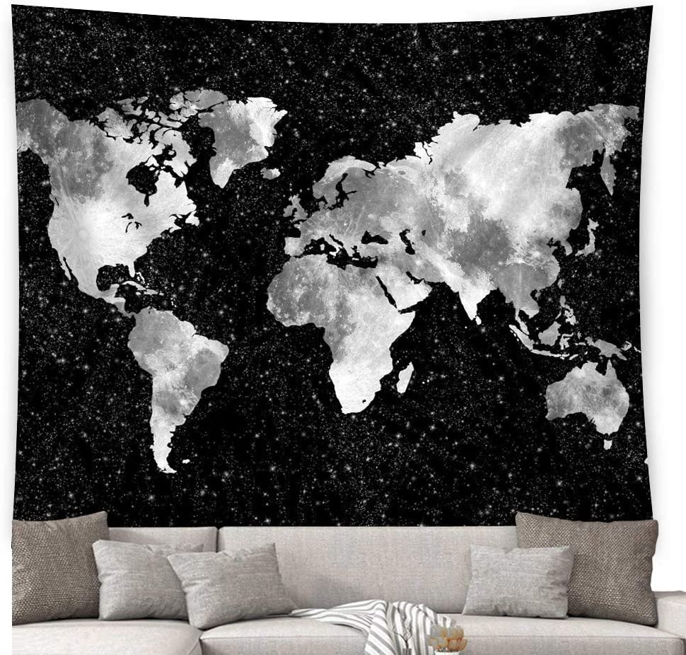 Starry World Map Tapestry / Vintage Black & White Abstract Painting Wall Hanging Home Decor for Bedroom Living Room Dorm Apartment(RB-W-1)(W:79
