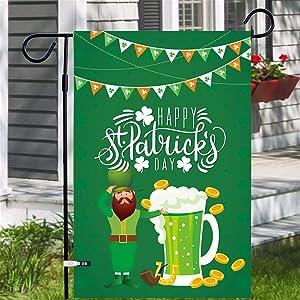 ShenBiadolr St. Patrick's Day Decorations - Irish Shamrock Garden Flag Outdoor Lawn Yard Party Supplies