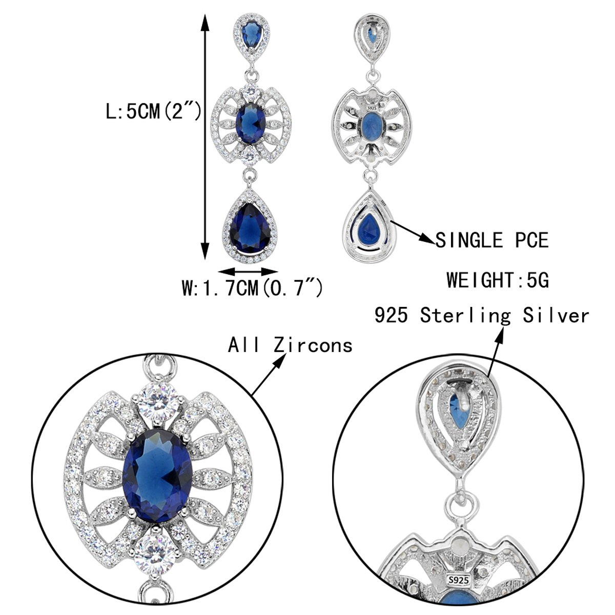 EVER FAITH 925 Sterling Silver CZ Vintage Inspired Tear Drop Chandelier Dangle Earrings Sapphire-color