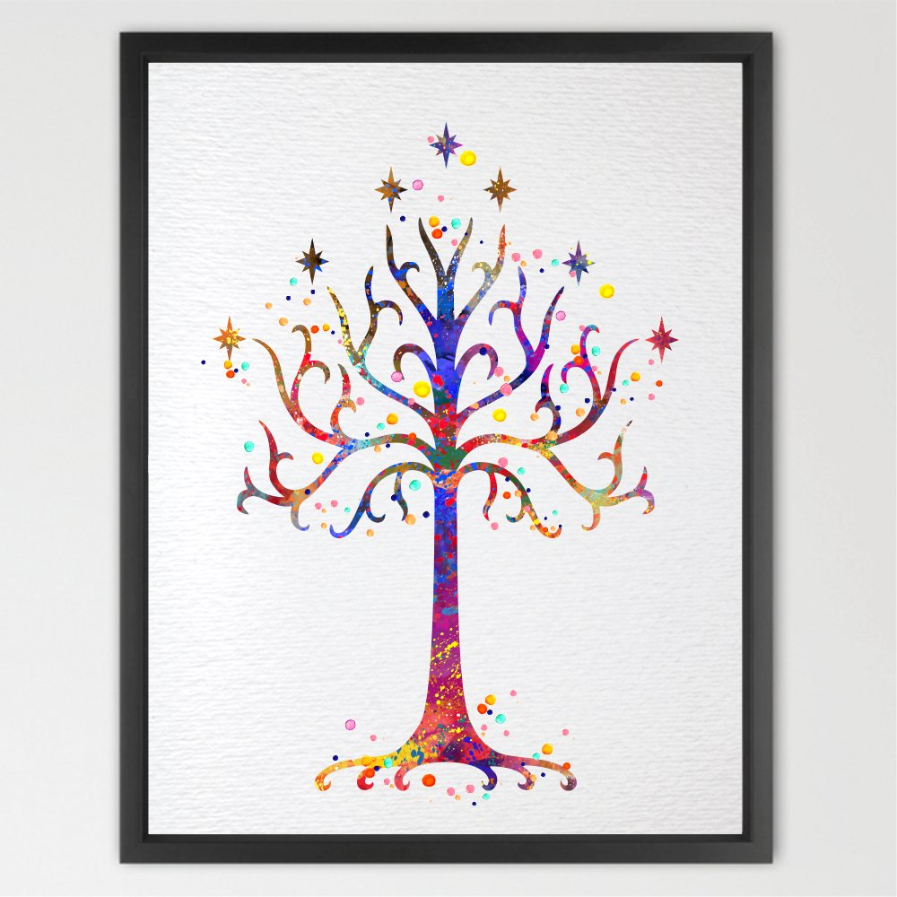 Dignovel Studios 8X10 White Tree of Gondor 2 LOTR Watercolor Art Print Art Wall Art Poster Wall Decor Art Wedding Gift Geek Poster Wall Hanging N195