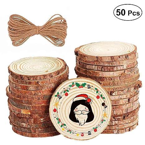 50pcs 5-6cm Rodajas de Madera Circular Rodajas de Discos Adorno Manualidades de Madera Para Bricolaje Centros de Mesa de Boda: Amazon.es: Hogar