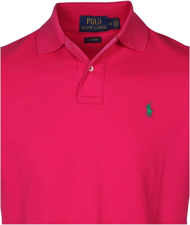 Polo Ralph Lauren para hombre, ajuste clásico, polo de malla - Rosa - Large: Amazon.es: Ropa y accesorios