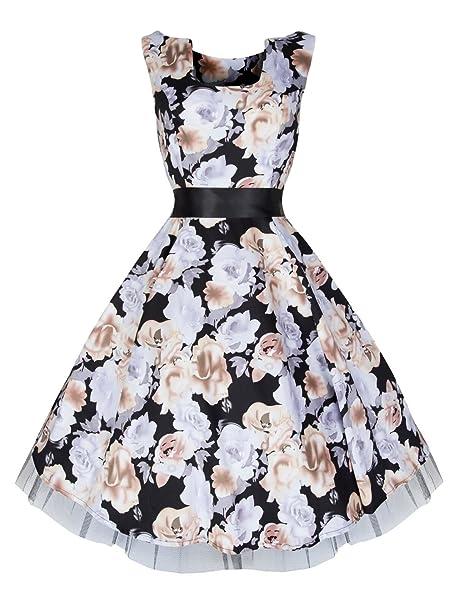 Ladies 1940 de 1950 de negro gris Color Beige Vintage Floral Print malla té vestido negro