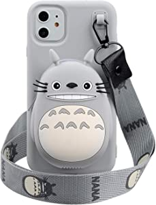"""Cartoon Case for iPhone 11 Pro Max 6.5,Phenix-Color 3D Cute Soft Silicone Animated Fashion Protective Back Cover with Pocket and Necklace for iPhone 11 Pro Max 6.5""""(Totoro, iPhone 11 Pro Max 6.5"""")"""