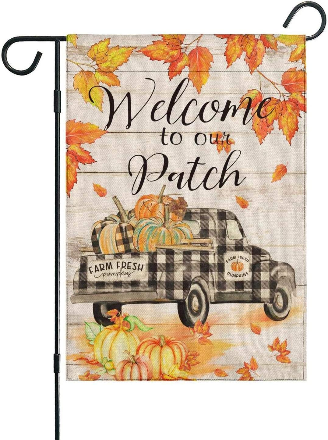 JJIMM Fall Flag Welcome to Our Pumpkin Patch Fall Leaves Autumn House Decorative Garden Flags Yard Outdoor Decor 12x18 Inches Buffalo Check Pumpkin Truck