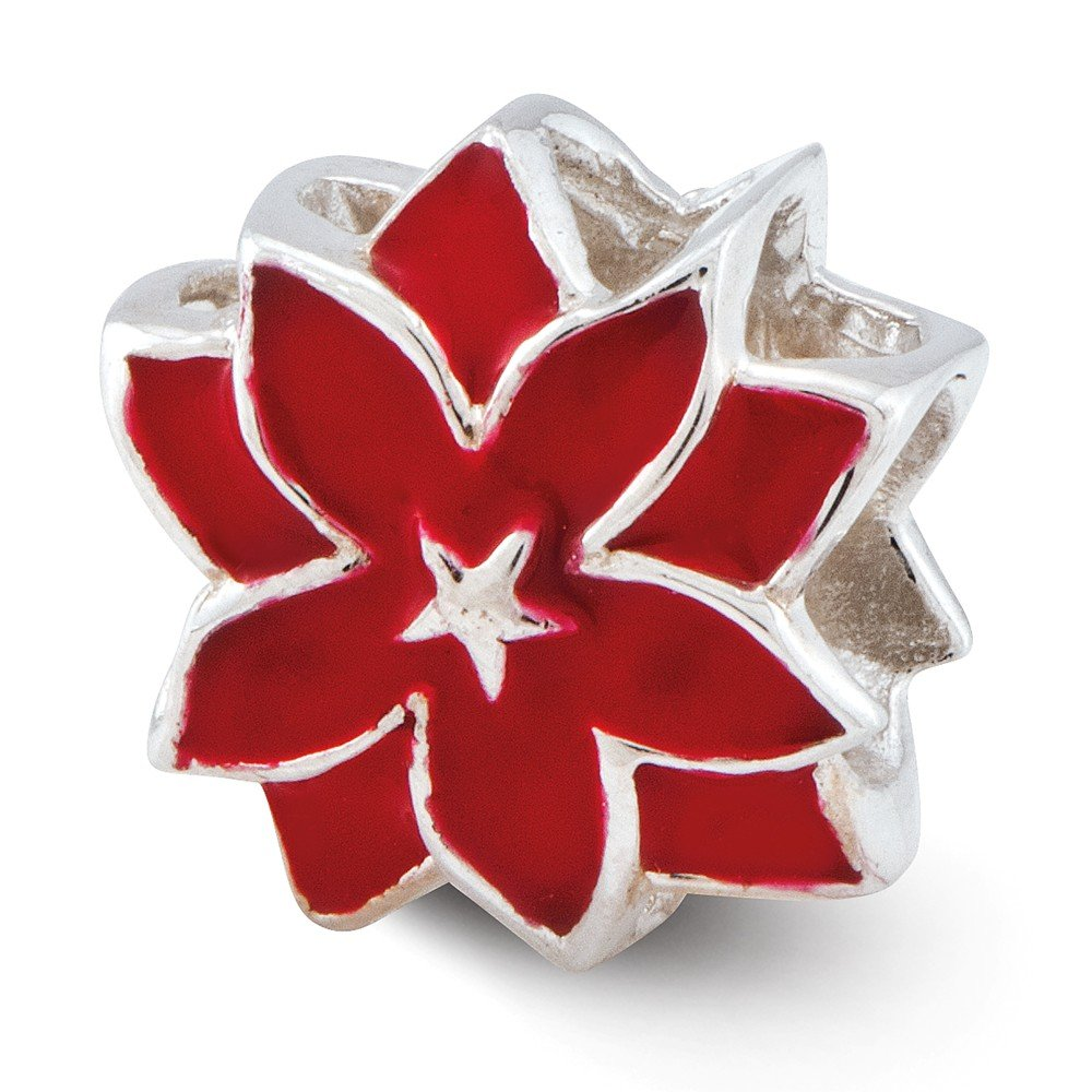 Reflection Beads Sterling Silver Red Enameled Flower Bead 10 x 10 mm