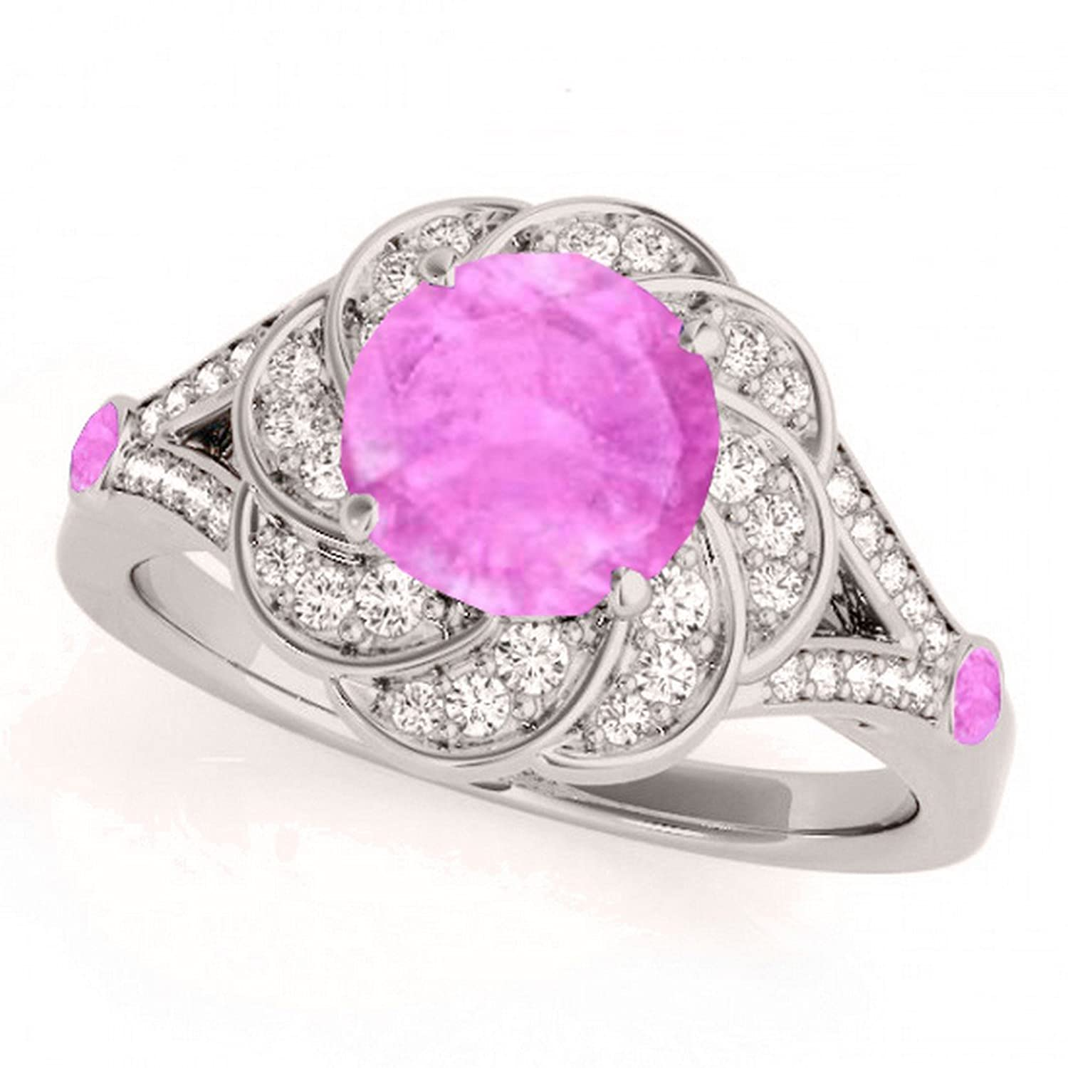 Allurez Diamond and Pink Sapphire Floral Swirl Split Shank ...