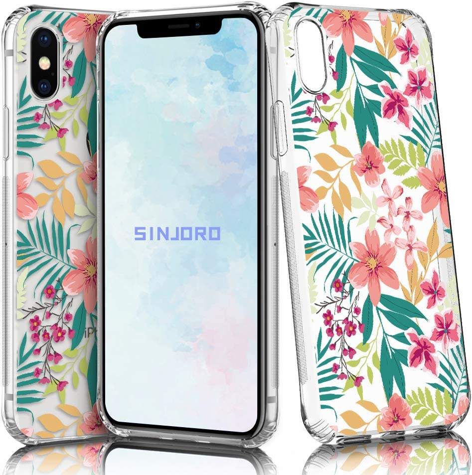 Sinjoro Funda iPhone XS/iPhone X, Floral Flor Flower Transparente Diseño Cubierta Goma Bumper Cover, Cristal Clear para Apple iPhone XS/iPhone X (Flamingo)