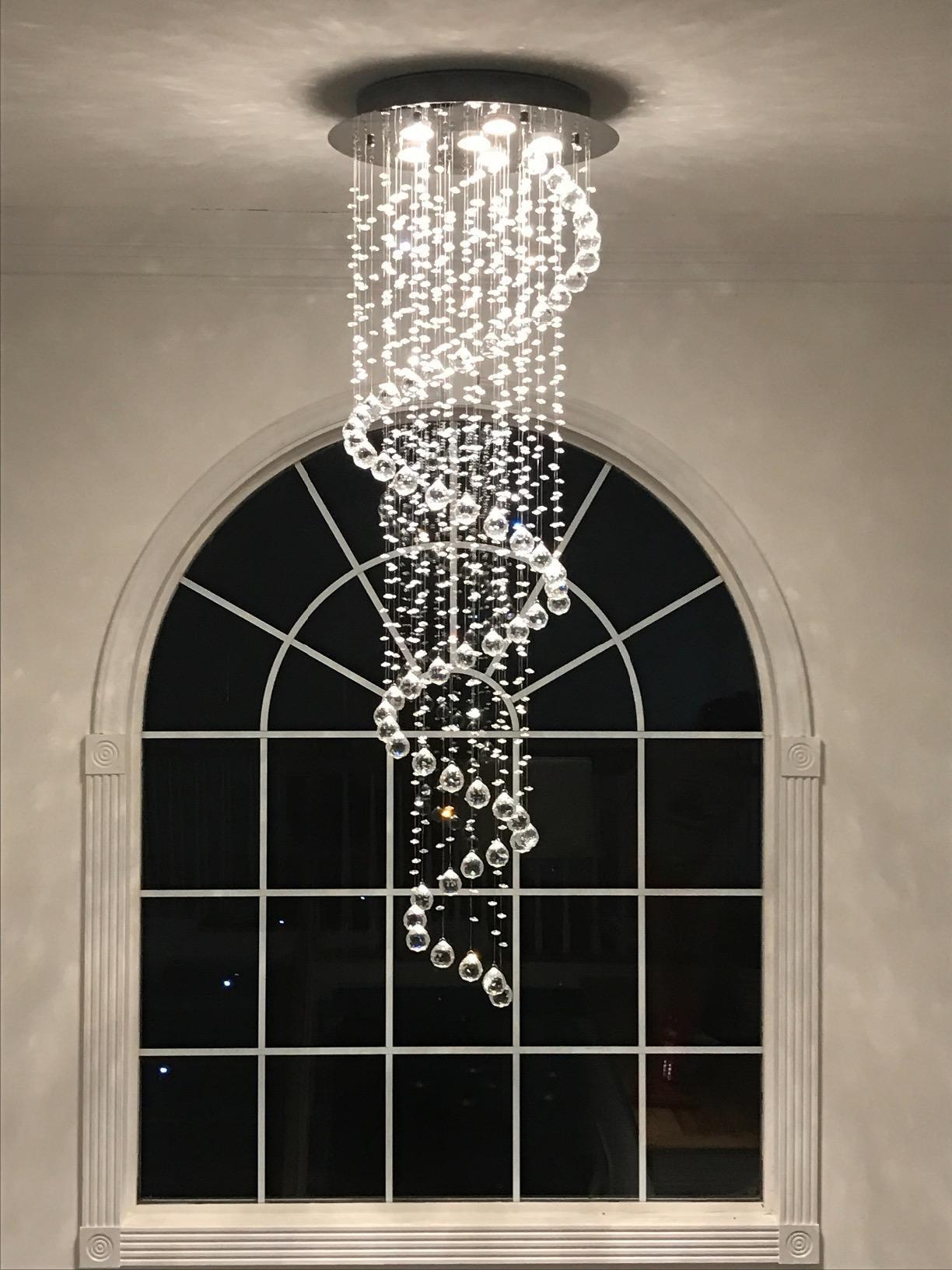 Crystal Chandeliers Spiral Sphere Rain Drop Spectacular Ceiling Lighting Flush Mount Fixture Chandelier, Crystal Ball Ceiling Light for Living Room Hotel Hallway Foyer Entry Way Romantic (NF-9027-6)