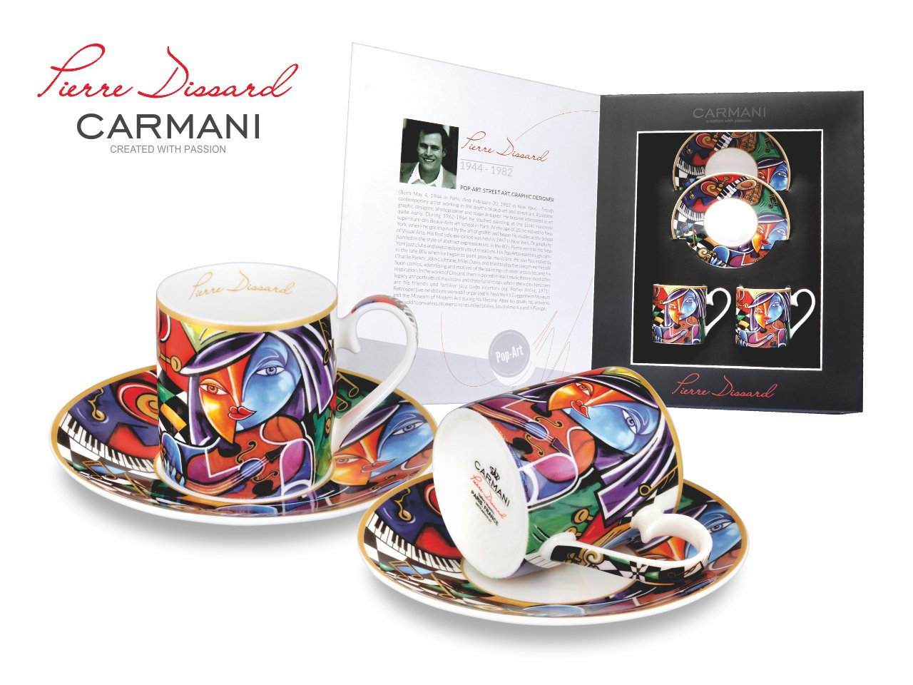 Carmani Painters 4-pc Espresso Coffee Set, Pierre Dissard Porcelain Series (Virtuoso)