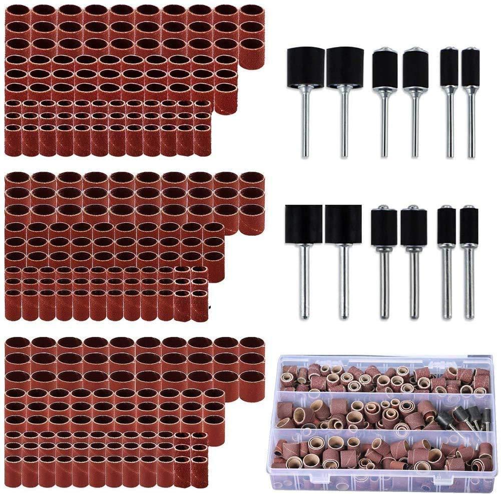 338pcs Sanding Drum Kit with Free Box fits Dremel Includes Rubber Drum Mandrels - 1/2, 3/8 & 1/4