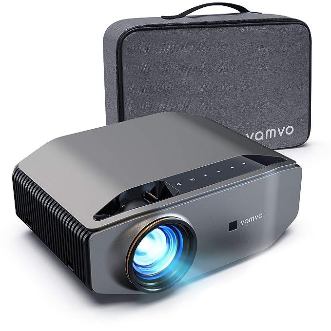 Vamvo Proyector Native 1920x1080p Full HD 6000 Lúmenes con Dolby Soporte 4K, Contraste 5000: 1, Máx de 300'' Ideal para cine en casa, entretenimiento, fiesta, video juego y presentación comercial, etc