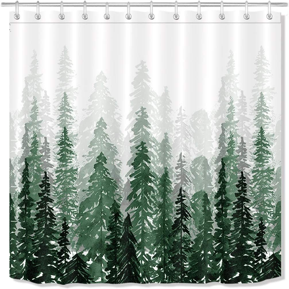 amazon com lb green forest shower curtain winter nature scene abstract watercolor pine tree ink art bathroom curtain home decorative polyester fabric with hooks 70x70 inch home kitchen lb green forest shower curtain winter nature scene abstract watercolor pine tree ink art bathroom curtain home decorative polyester fabric with