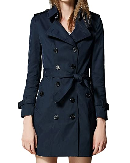 36d2901e6d4 Burdully Women s Trench Coat Double Breasted Slim Wind Coats with Belt Long  Sleeve Jacket Navyblue